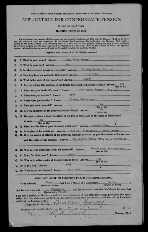 Pearl Yancy pension application