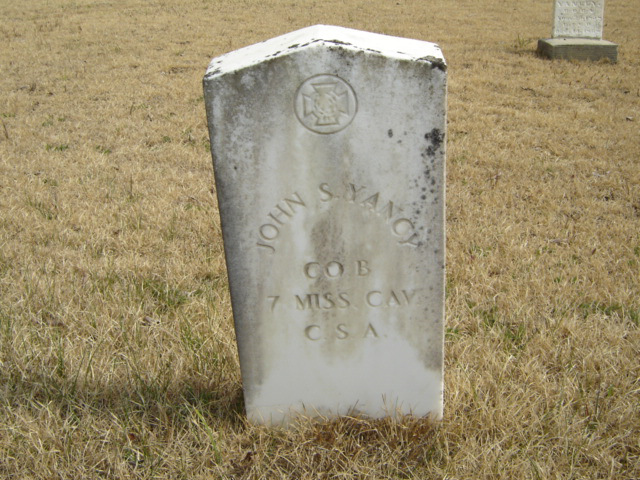The grave of John S. Yancy in Rucker Cemetery, Tippah County, Mississippi - www.findagrave.com